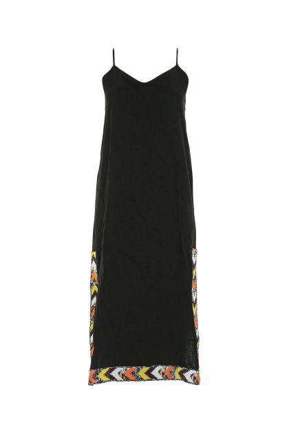 Black acetate blend slip dress
