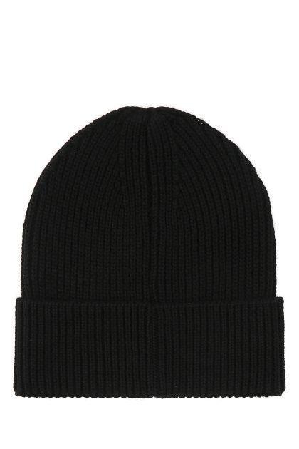 Black wool and acrylic Cross beanie hat