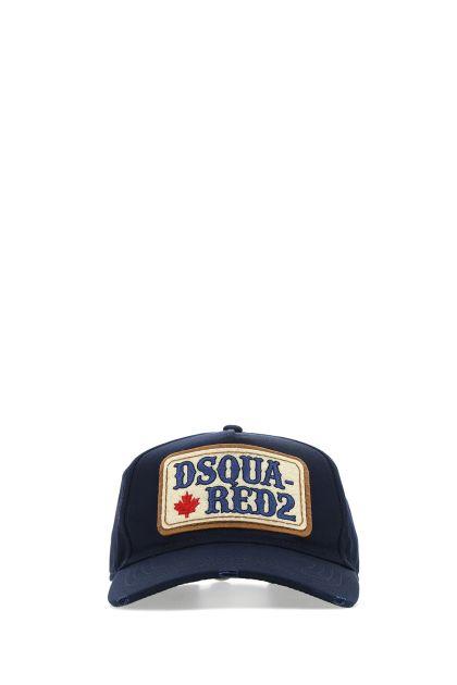 Navy blue gabardine baseball cap