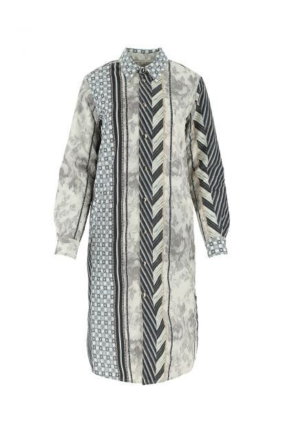 Printed nylon blend Integmos reversible trench coat