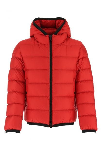 Red nylon Myosotis down jacket