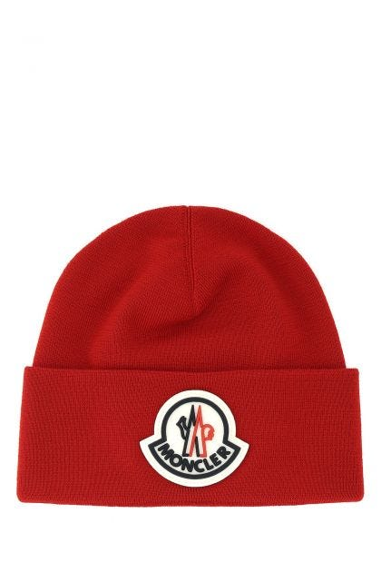 Red wool Tricot beanie hat