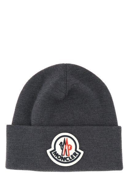 Dark grey wool Tricot beanie hat