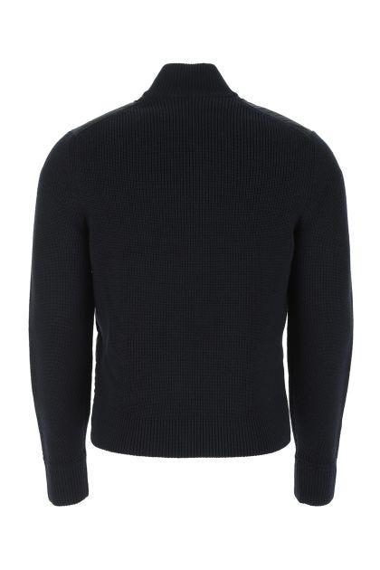 Midnight blue nylon and wool cardigan