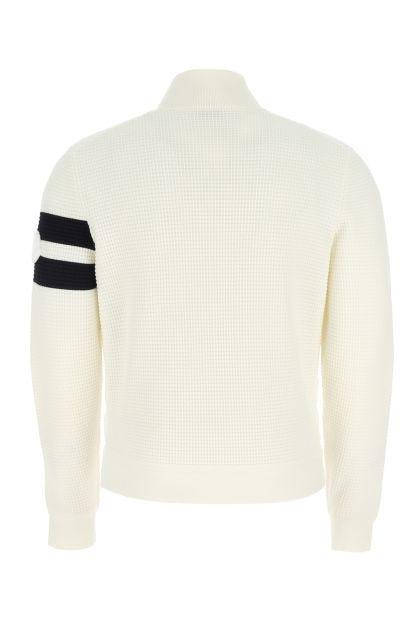 Two-tone wool and nylon cardigan