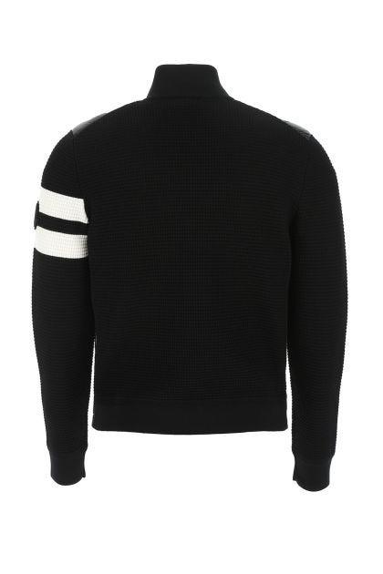 Black wool and nylon cardigan