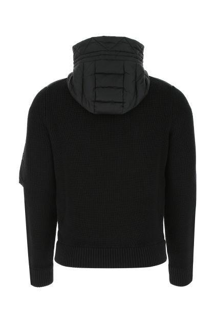 Black nylon and acrylic blend cardigan