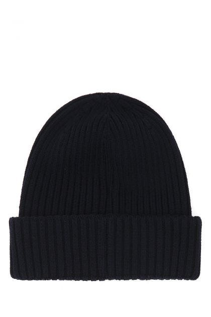 Midnight blue wool beanie hat