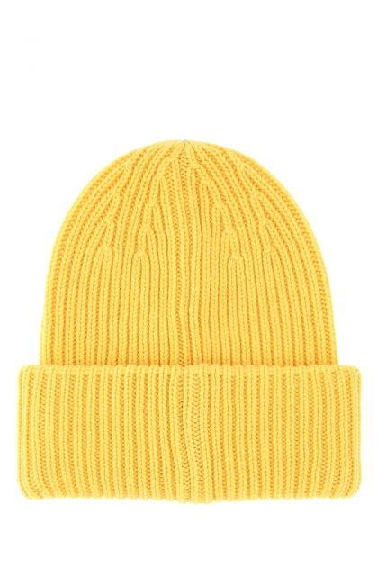 Yellow wool blend beanie hat