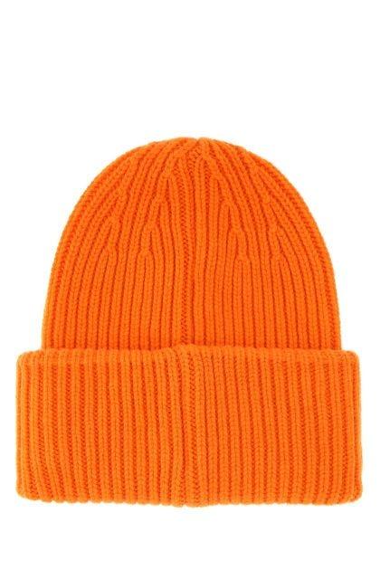 Orange wool blend beanie hat