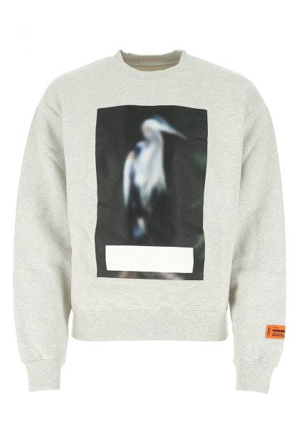 Melange grey cotton oversize sweatshirt