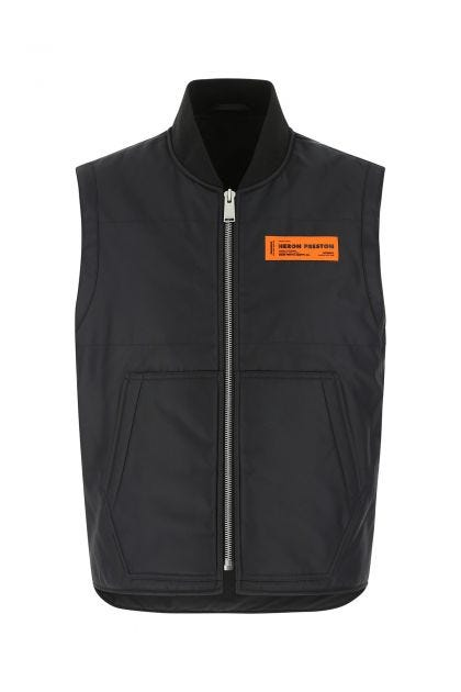 Black nylon padded sleeveless jacket