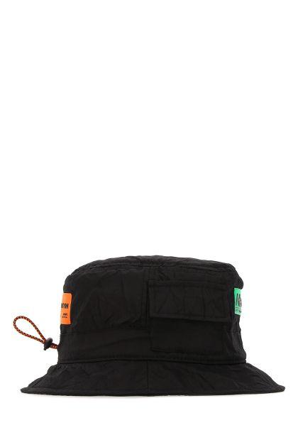Black nylon blend bucket hat