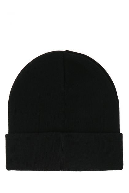 Black acrylic beanie hat