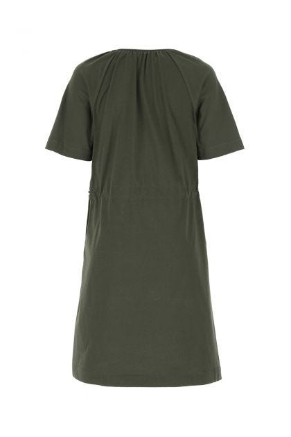 Army green cotton and polyester blend t-shirt dress