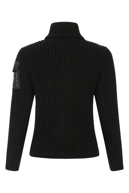 Black nylon and wool Tricot cardigan