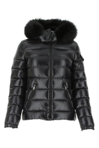 Black nylon Badyfur down jacket