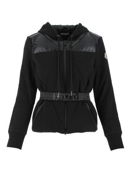 Black cotton blend and nylon sweatshirt