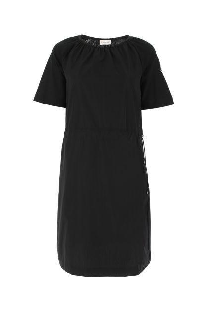 Black cotton and polyester blend t-shirt dress