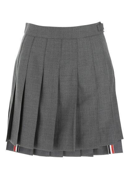 Melange grey wool mini skirt