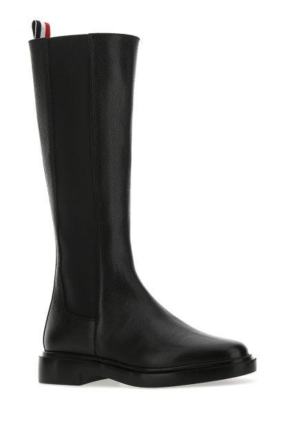 Black leather knee boots