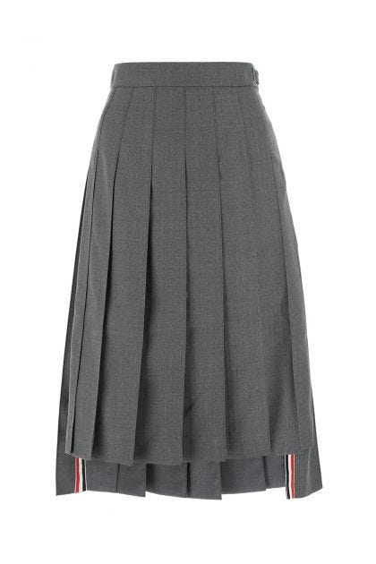 Melange grey wool midi skirt