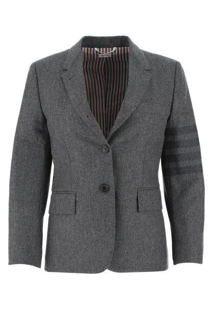 Melange grey wool blend blazer