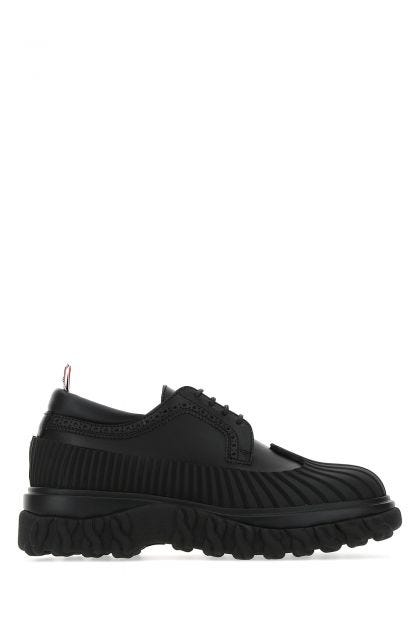 Black leather Chelsea Duck lace-up shoes