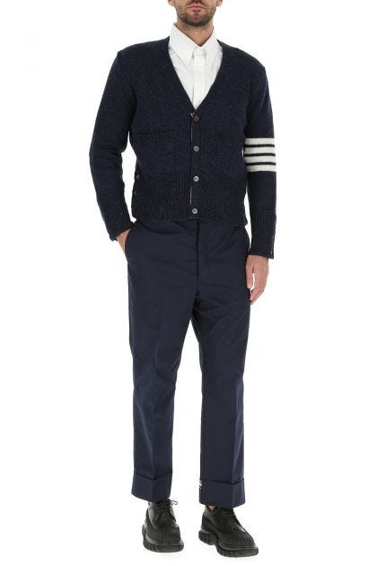 Midnight blue polyester blend chino pant