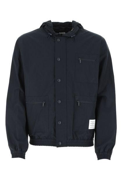 Navy blue cotton blend jacket