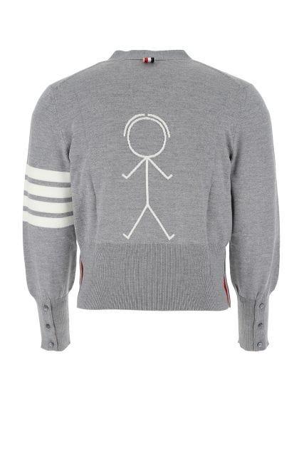 Melange grey wool cardigan
