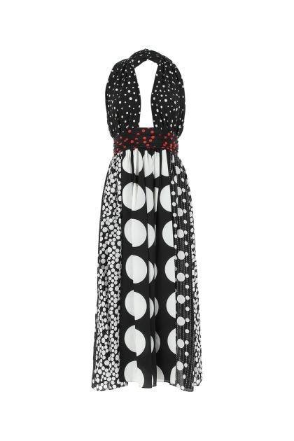Printed stretch silk dress
