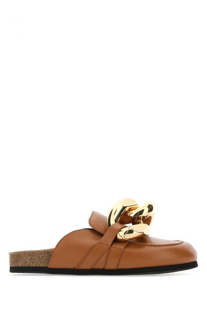 Camel leather mules