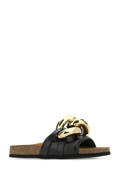 Black leather Chain slippers