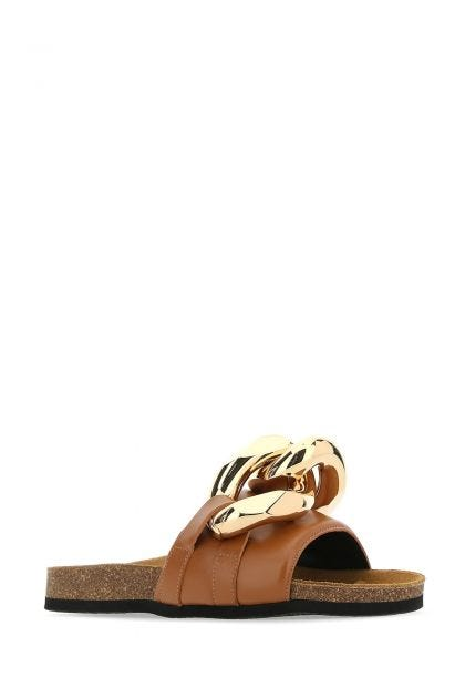 Camel leather slippers