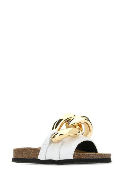 White leather Chain slippers