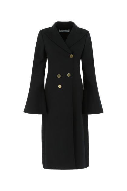 Black stretch wool coat