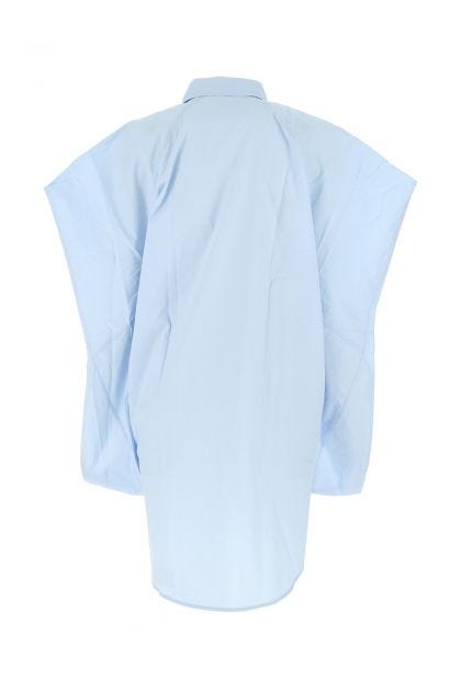Light blue popeline oversize shirt dress