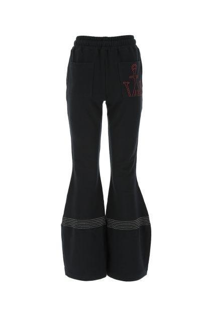 Black cotton wide leg pant