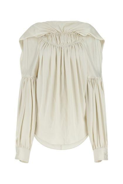 Ivory satin oversize blouse