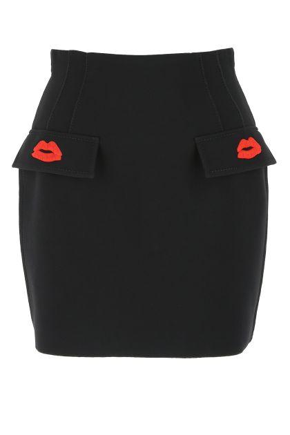 Black viscose blend mini skirt