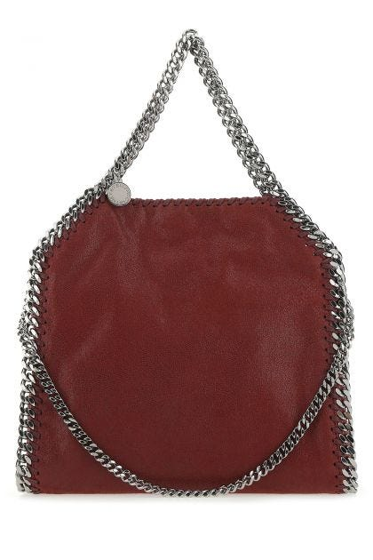 Burgundy shaggy deer mini Falabella handbag