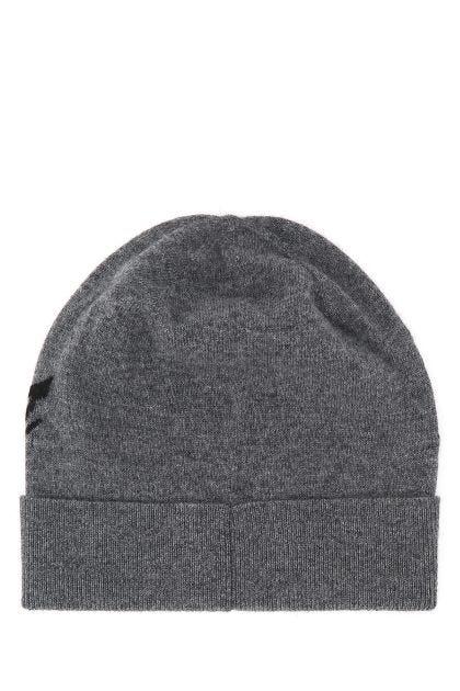 Melange grey wool blend beanie hat