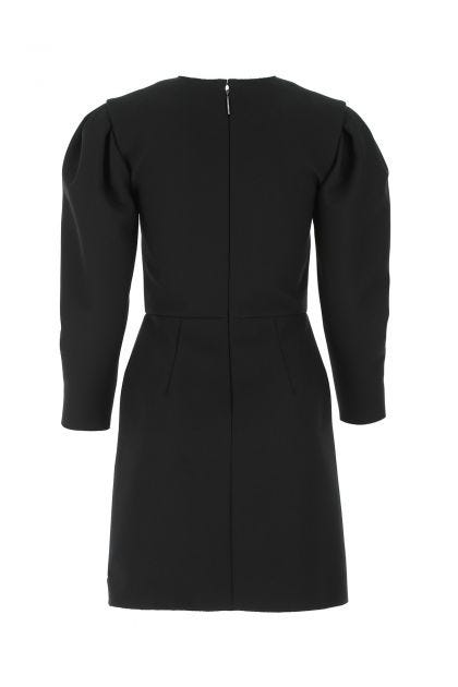 Black stetch polyester blend mini dress