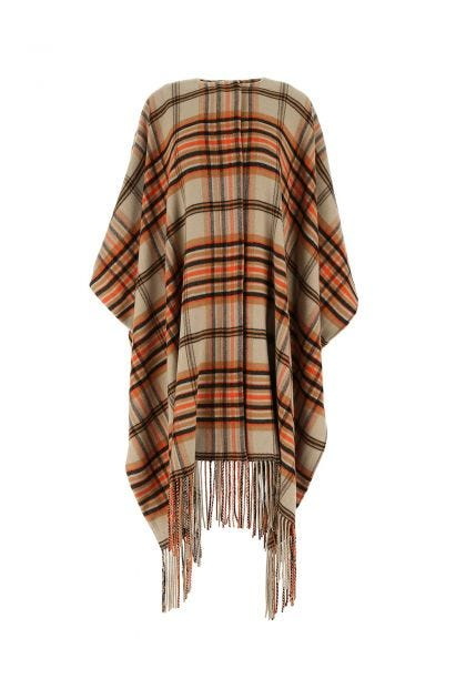 Embroidered flannel cape