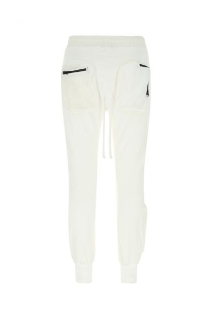 White cotton blend joggers
