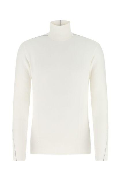 White stretch viscose blend sweater