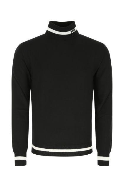 Black wool and acrylic sweater