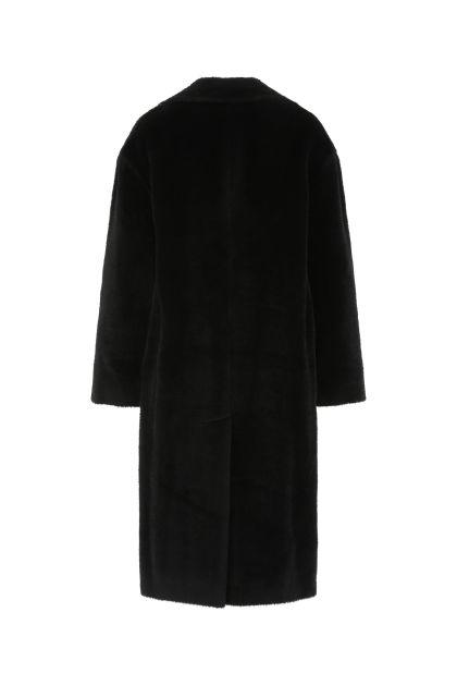 Black alpaca blend coat