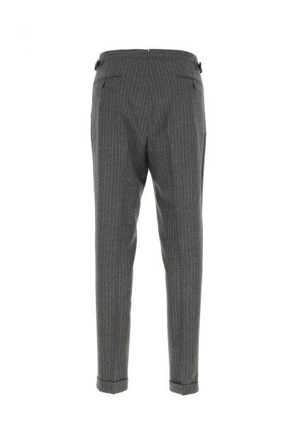 Embroidered wool blend pant